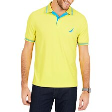 Image of Nautica BLAZING YELLOW STRIPE EDGE SHORT SLEEVE POLO SHIRT