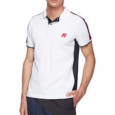 Image of Nautica BRIGHT WHITE Mesh Panel short sleeve Tape Polo