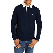 Image of Nautica NAVY THE COLLAR SHIPMAN LONG SLEEVE RUGBY SHIRT
