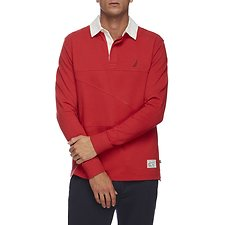 Image of Nautica RESCUE RED THE COLLAR SHIPMAN LONG SLEEVE RUGBY SHIRT