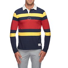 Image of Nautica NAVY ENGINEERED STRIPE SHIPMAN RUGBY SHIRT