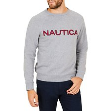 Image of Nautica STONE GREY HEATHER NAUTICA EMBROIDED CREW NECK SWEATER