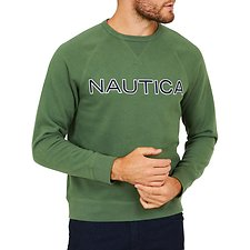 Image of Nautica PINE FOREST NAUTICA EMBROIDED CREW NECK SWEATER