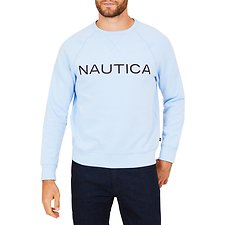 Image of Nautica SEA MIST NAUTICA EMBROIDED CREW NECK SWEATER