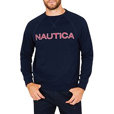 Image of Nautica NAVY NAUTICA EMBROIDED CREW NECK SWEATER