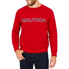 Image of Nautica NAUTICA RED NAUTICA EMBROIDED CREW NECK SWEATER