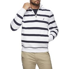 Image of Nautica BRIGHT WHITE QUARTER ZIP STRIPED FLEECE