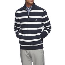 Image of Nautica NAVY QUARTER ZIP STRIPED FLEECE