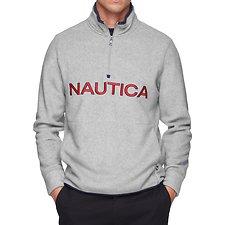 Image of Nautica GREY HEATHER NAUTEX CONTRAST POINT QUART-ZIP FLEECE