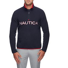 Image of Nautica NAVY NAUTEX CONTRAST POINT QUART-ZIP FLEECE
