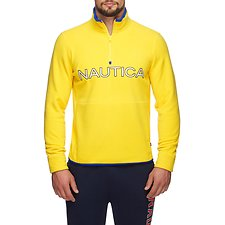 Image of Nautica BUOY YELLOW NAUTEX CONTRAST POINT QUART-ZIP FLEECE