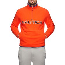 Image of Nautica ORANGE POPPY NAUTEX CONTRAST POINT QUART-ZIP FLEECE