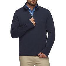Image of Nautica NAVY EXPOSED QAURTER-ZIP SWEATER