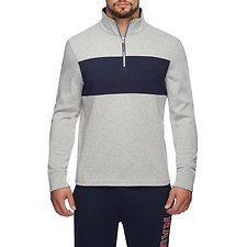Image of Nautica GREY HEATHER CLRBLK QUARTER-ZIP ACTIVE SWEATER