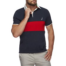 Image of Nautica NAVY QUILTED COLOUR BLOCK POLO