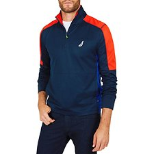 Image of Nautica NAVY OPEN WATER CHALLENGE LONG SLEEVE PERFORMANCE POLO