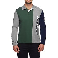 Image of Nautica SEA KELP LS BWC SPLIT LOGO RUGBY  SHIRT