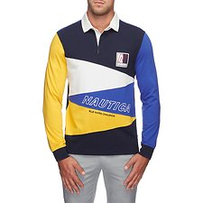 Image of Nautica MONACO BLUE BLUE WATER CHALLENGE DIAGONAL PIECED RUGBY SHIRT