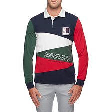 Image of Nautica CHERRY RED BLUE WATER CHALLENGE DIAGONAL PIECED RUGBY SHIRT