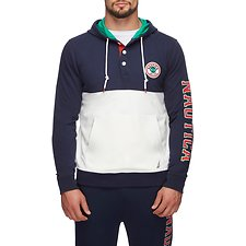 Image of Nautica  FASHION BLOCKED LOGO SLEEVE HOODIE NAVY