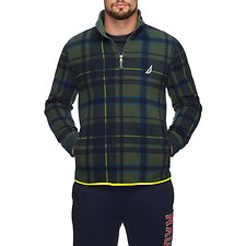 Image of Nautica PACIFIC PINE TARTAN QUARTER-ZIP GEO FLEECE