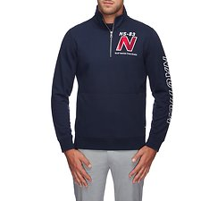 Image of Nautica NAVY BLUE WATER CHALLENGE TARTAN QUARTER ZIP SWEATER