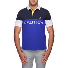 Image of Nautica BRIGHT COBALT NAUTICA TECH CLRBLK POLO SHIRT