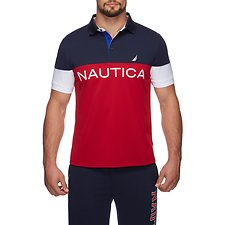Image of Nautica NAUTICA RED NAUTICA TECH CLRBLK POLO SHIRT