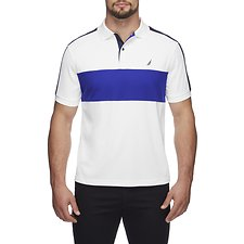 Image of Nautica BRIGHT WHITE HERITAGE BLOCKED NAVTECH POLO SHIRT