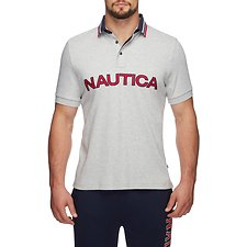 Image of Nautica GREY HEATHER JERSEY TIPPED LOGO POLO