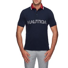 Image of Nautica NAVY JERSEY TIPPED LOGO POLO