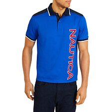 Image of Nautica BRIGHT COBALT SHORT SLEEVE WOVEN TRIM LOGO CLASSIC FIT POLO