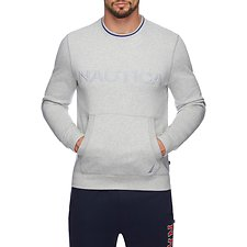 Image of Nautica GREY HEATHER FLEECE LOGO POCKET SWEATSHIRT