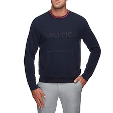 Image of Nautica NAVY FLEECE LOGO POCKET SWEATSHIRT