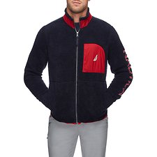 Image of Nautica NAVY NAUTICA FULL ZIP POCKET SHERPA