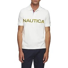 Image of Nautica SAILOR WHITE KAUAI LOGO PANEL SHORT SLEEVE POLO