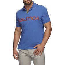Image of Nautica BOLT BLUE KAUAI LOGO PANEL SHORT SLEEVE POLO