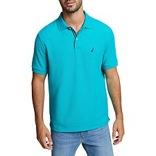 Image of Nautica GULFCOAST TEAL SOLID CLASSIC FIT DECK POLO SHIRT