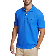 Image of Nautica COBALT WAVE SOLID CLASSIC FIT DECK POLO SHIRT