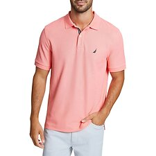 Image of Nautica PALE CORAL SOLID CLASSIC FIT DECK POLO SHIRT