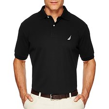 Image of Nautica TRUE BLACK Short Sleeve Solid Polo
