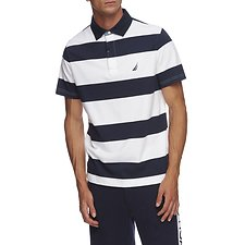 Image of Nautica BRIGHT WHITE YARN DYED STRIPE POLO