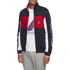 Image of Nautica NAVY Split Collar Retro Track Jacket