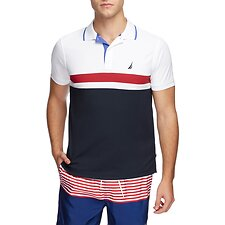 Image of Nautica BRIGHT WHITE NAVTECH UNDERSTATED STRIPE BLOCK POLO