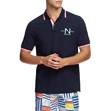 Image of Nautica NAVY REGATTA SOLID TIPPED POLO