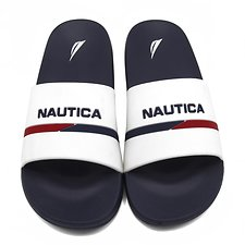 Image of Nautica WHITE STRIPE SLIDES