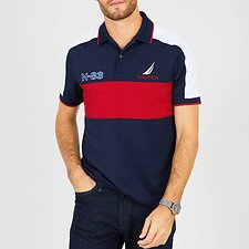 Image of Nautica NAVY N-83 FLAG SHORT SLEEVE POLO SHIRT