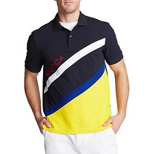 Image of Nautica NAVY CLASSIC FIT PERFORMANCE POLO IN DIAGONAL COLORBLOCK