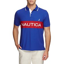 Image of Nautica BRIGHT COBALT COLOURBLOCK PERFORMANCE POLO