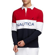 Image of Nautica NAUTICA RED LONG SLEEVE PERFORMANCE POLO